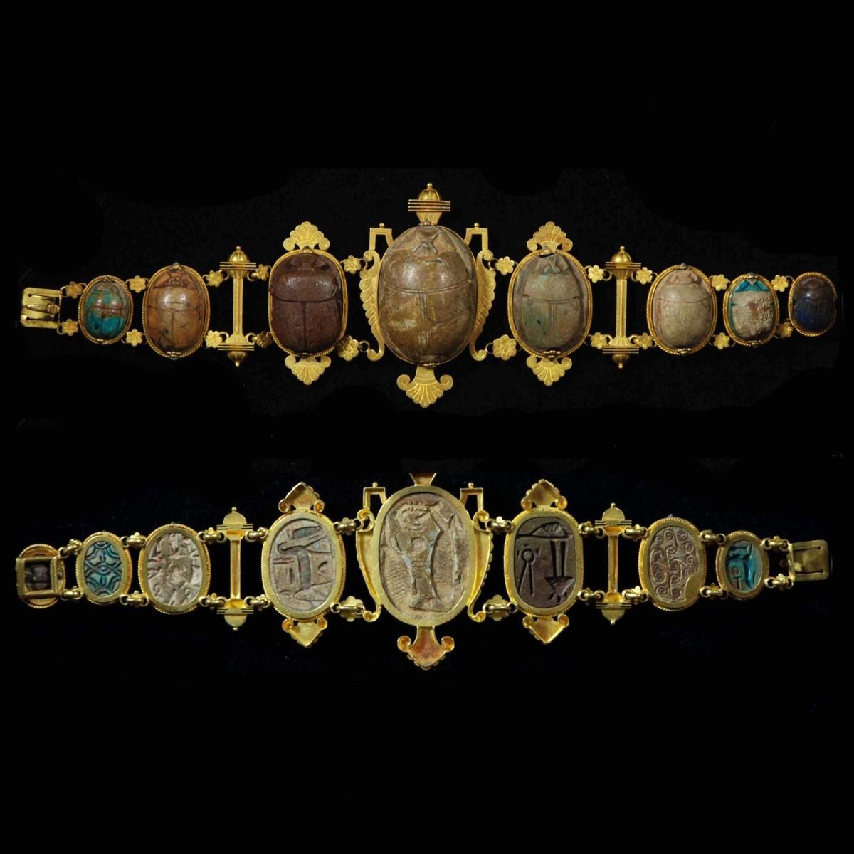 Egyptian gold jewelery with scarabs bracelet