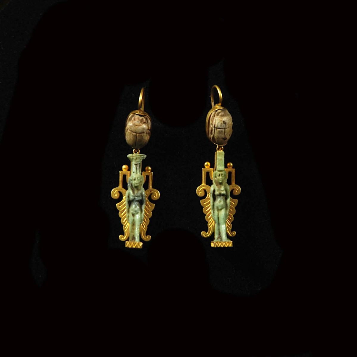Egyptian gold jewellry with amulets earrings
