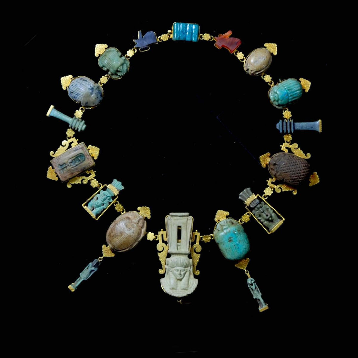 Egyptian gold jewelry with amulets necklace