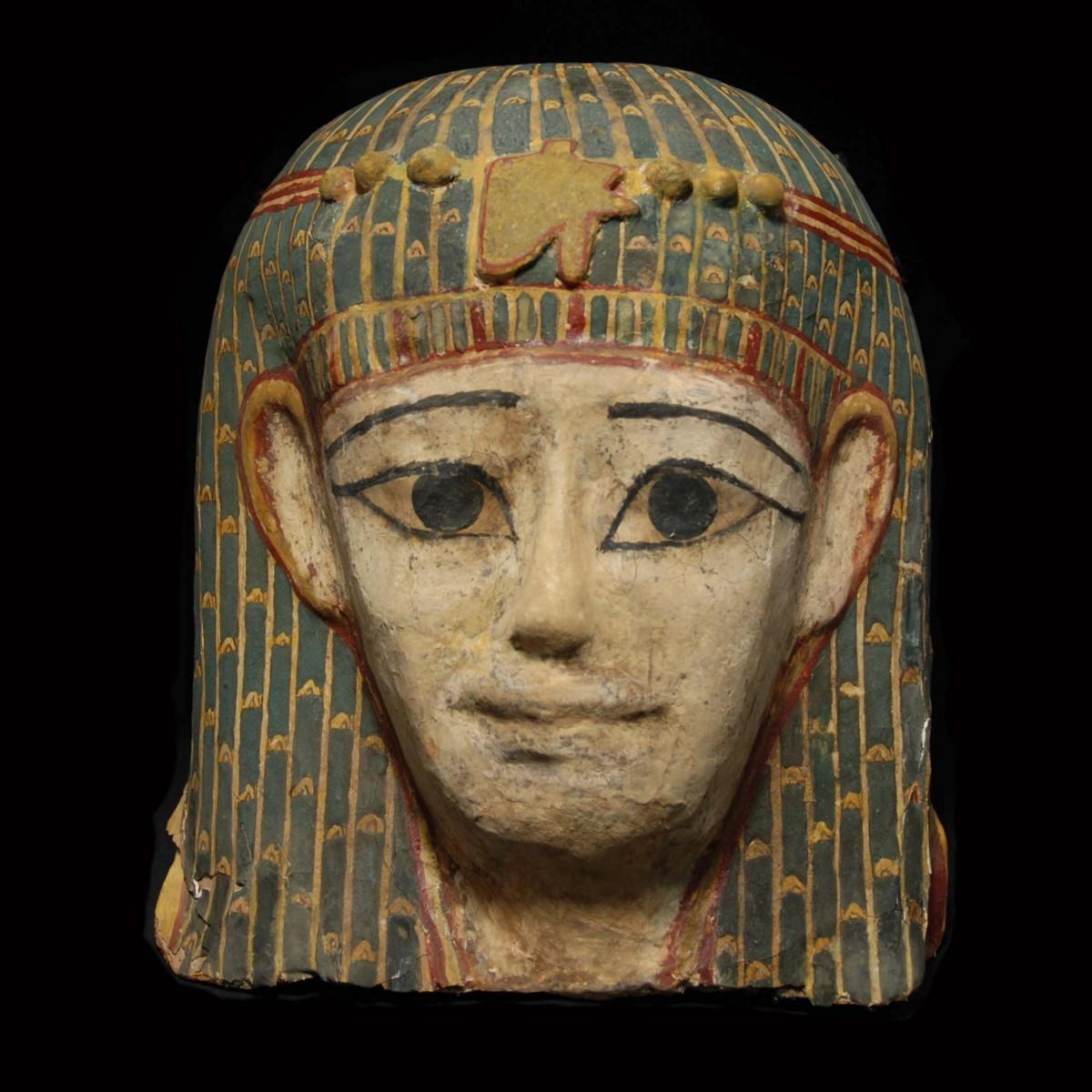 Egyptian mummy mask linen front