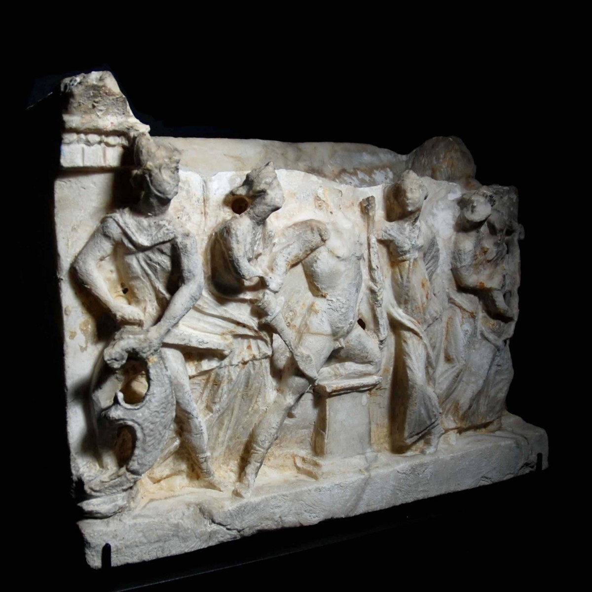 Etruscan alabaster cinerary urn showing the recognition of Paris left