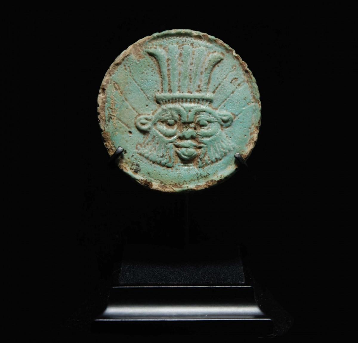 Fayence amulet with Bes and Horus Eye mounted