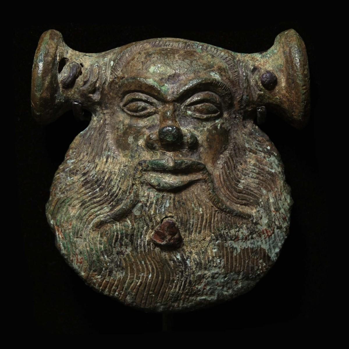 Greek Bronze mask of a Silen