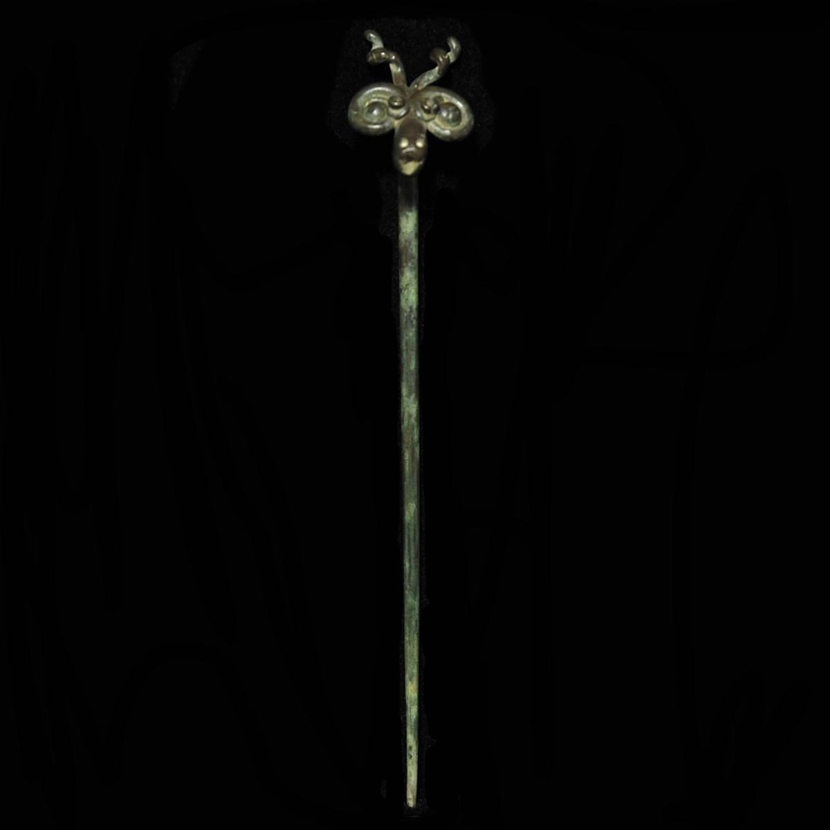 Iranian Bronze pin with deer head
