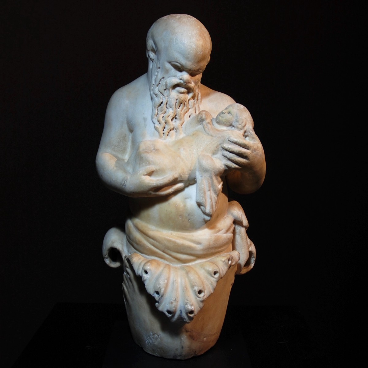 Roman marble statue of Silenus with Bacchus front